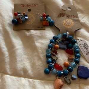 Ruby red earring and bracelet set
